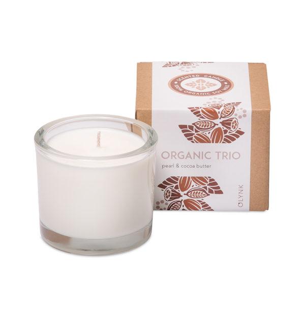 ORGANICZNE TRIO - Świeca zapachowa z wosku sojowego: perła i masło kakaowe