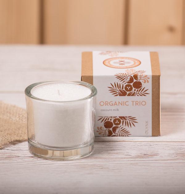 ORGANICZNE TRIO - Świeca zapachowa z wosku palmowego: mleczko kokosowe