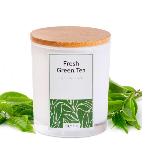 Świeca zapachowa z wosku sojowego: FRESH GREEN TEA