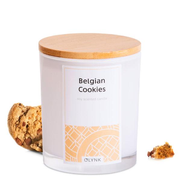 Świeca zapachowa o zapachu ciastek belgijskich.